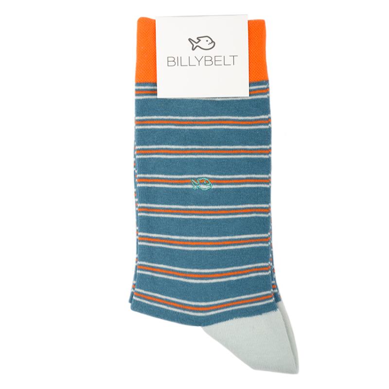 Cotton socks Fine Stripes Blue / Orange