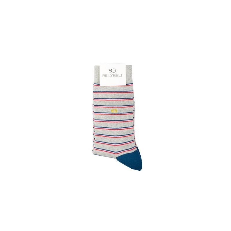 Chaussettes coton Fines Rayures gris / bleu