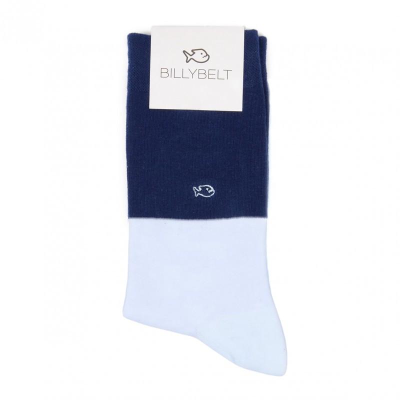 Chaussettes coton Bi-colors Bleu marine / Bleu ciel