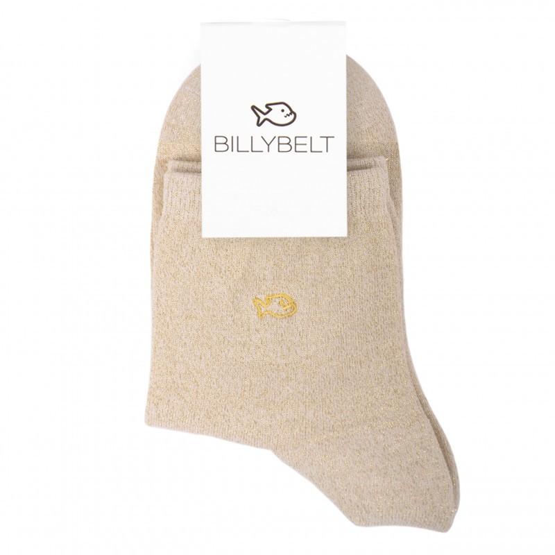 Chaussettes coton Paillettes Beige