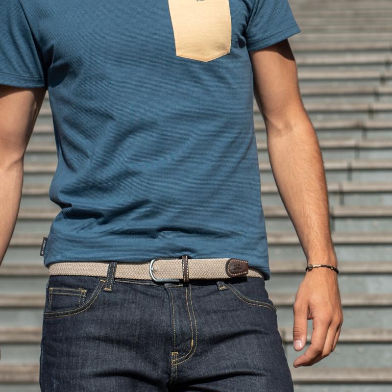 Elastic woven belt  Sandy Beige