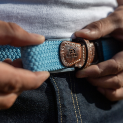 Elastic woven belt Duck-Egg Blue