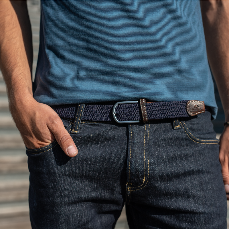 Elastic woven belt  Navy Blue