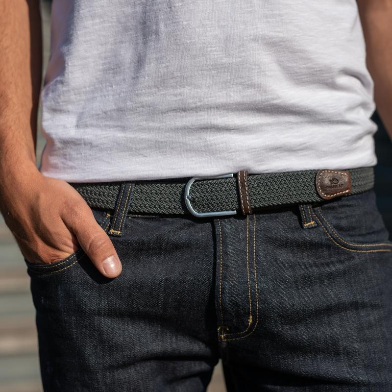 Elastic woven belt  Flannel Grey
