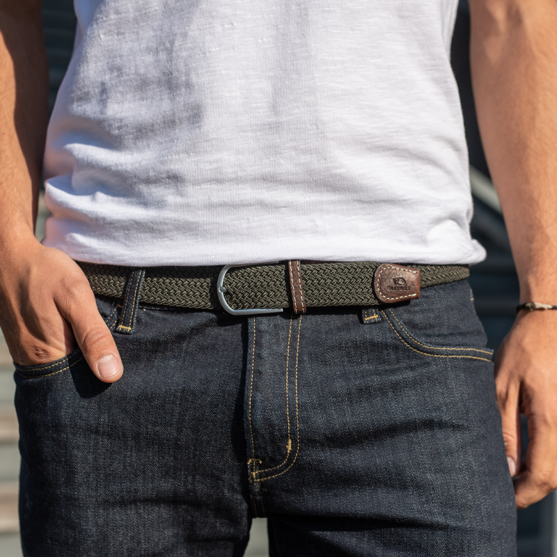 Elastic woven belt  Khaki Green