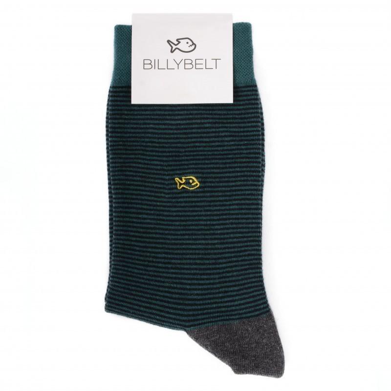Chaussettes coton Rayée Vert Anglais