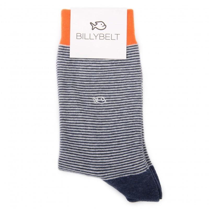 Chaussettes coton Rayée Bleu Minéral
