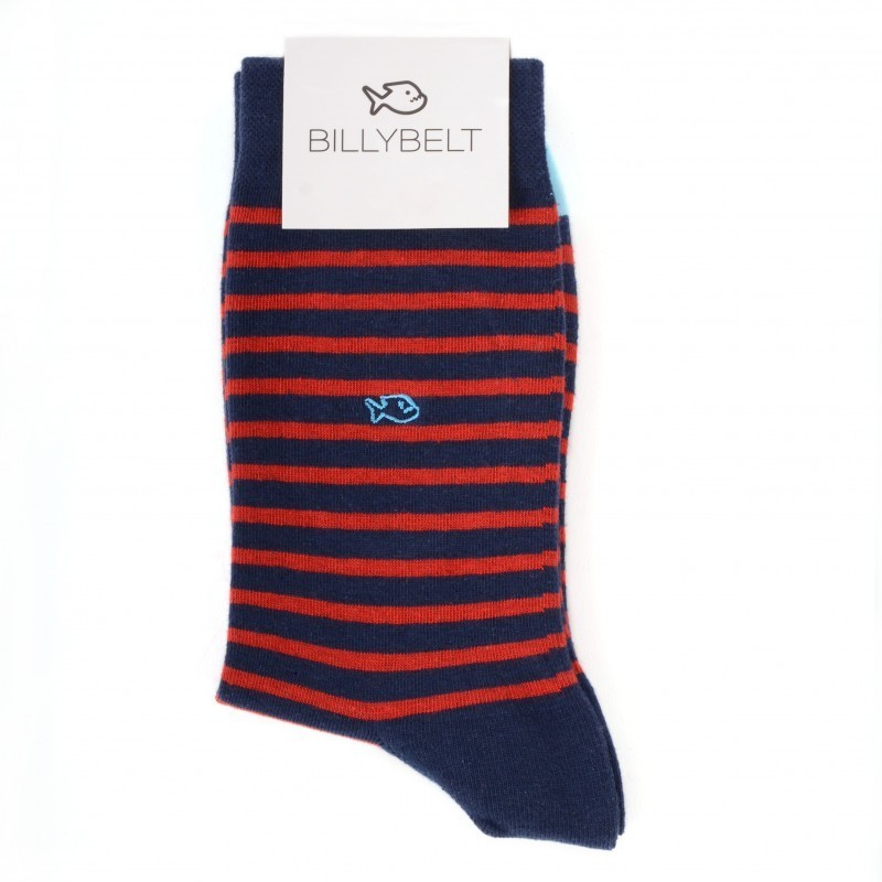 Chaussettes coton Larges Rayures Marine / Rouge