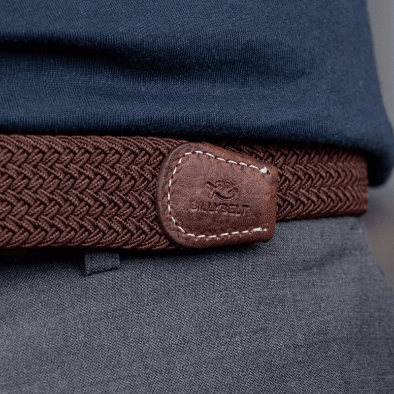 Elastic woven belt  Leaf Brown