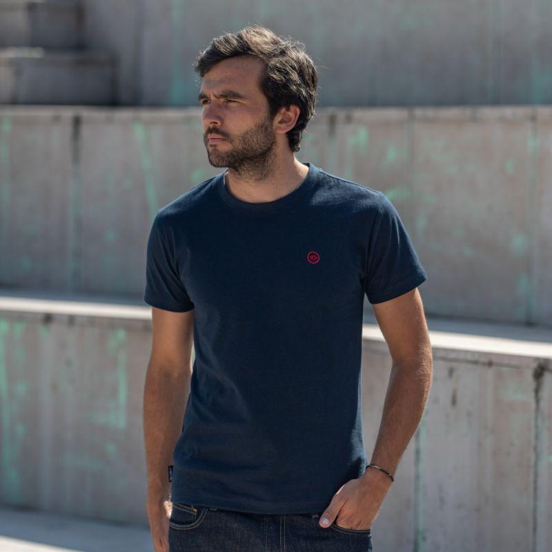 Organic cotton - Plain colour navy blue T-shirt - 190gr