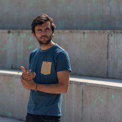T-shirt rayé bleu/beige en coton biologique - 190gr