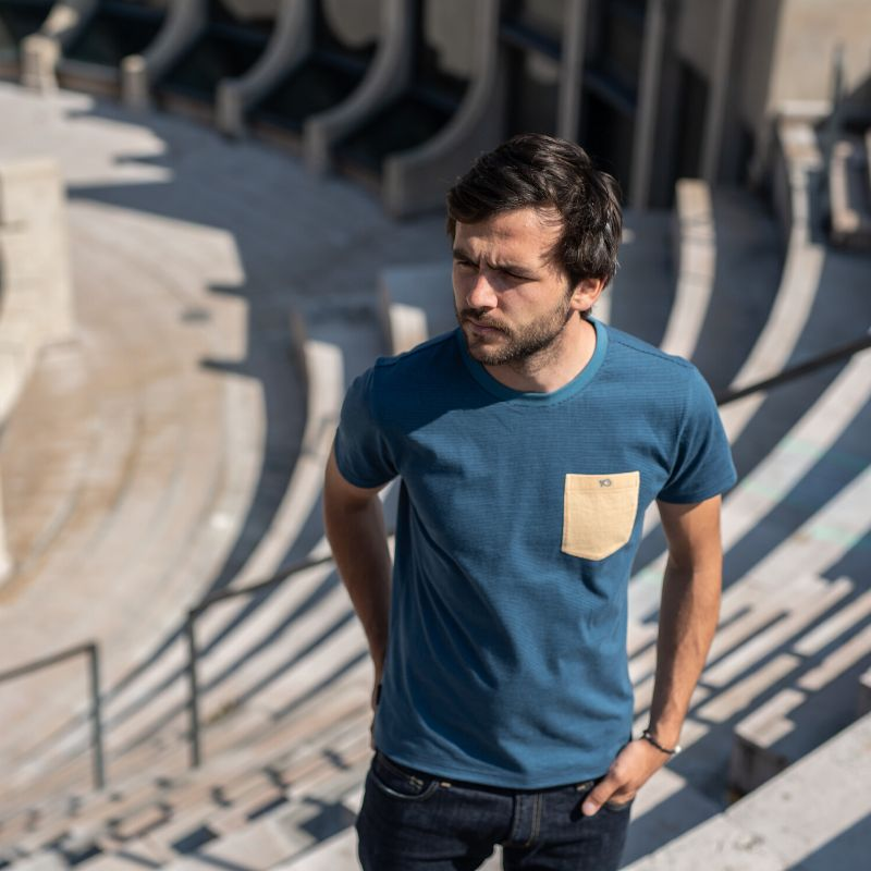 Organic cotton - Beige/blue striped T-shirt - 190gr