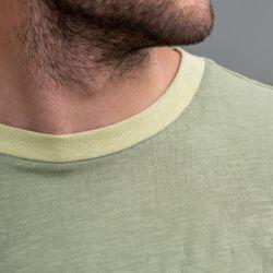 T-shirt flammé Kaki en coton biologique - 220gr