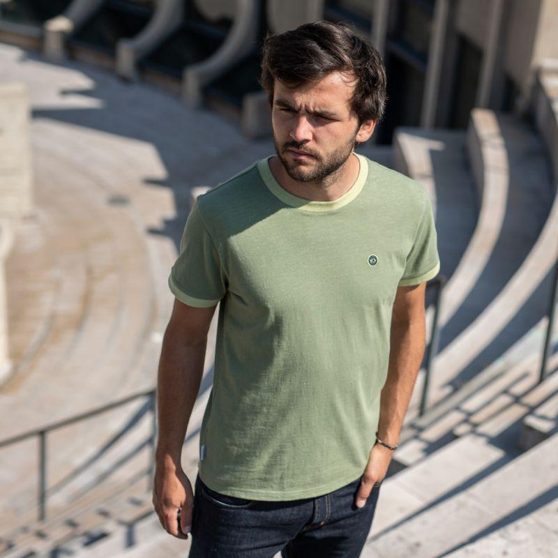 Organic cotton - Khaki flammed T-shirt - 220gr