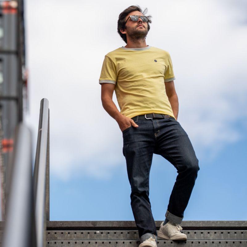 T-shirt flammé jaune en coton biologique - 220gr