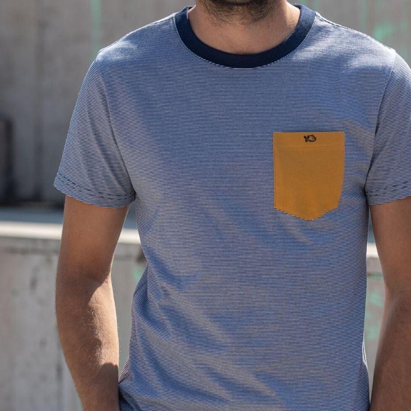 T-shirt rayé bleu/camel en coton biologique - 190gr