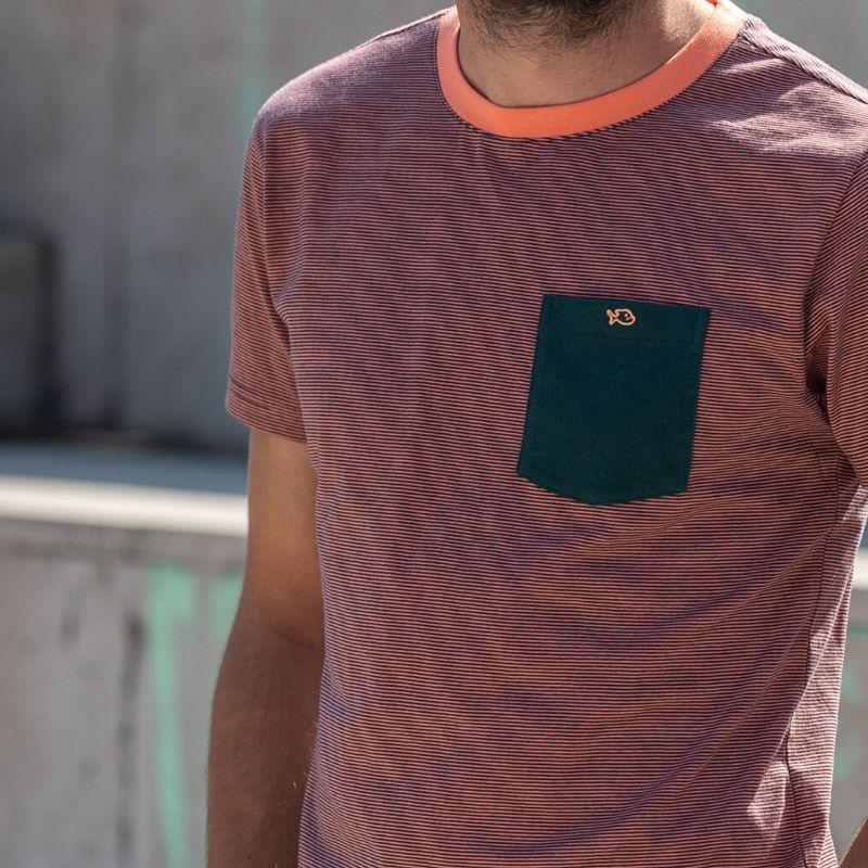 T-shirt rayé corail/vert en coton biologique - 190gr