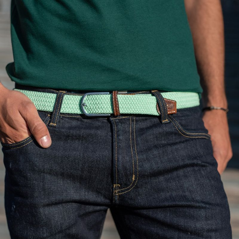 Elastic woven belt  Water Green
