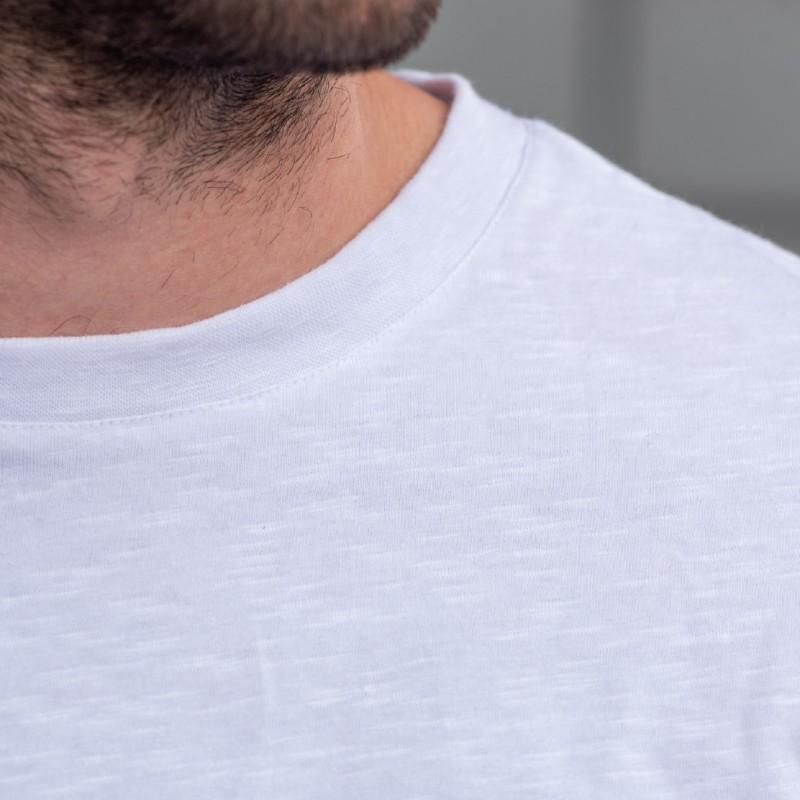 Organic cotton - White flammed T-shirt - 220gr