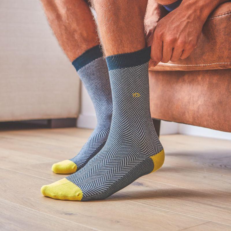 Cotton socks Petrol Green Herringbone
