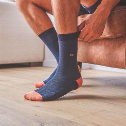 Cotton socks Slate Herringbone
