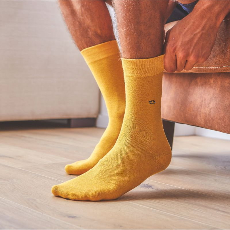 Cotton Socks Mottled Mustard