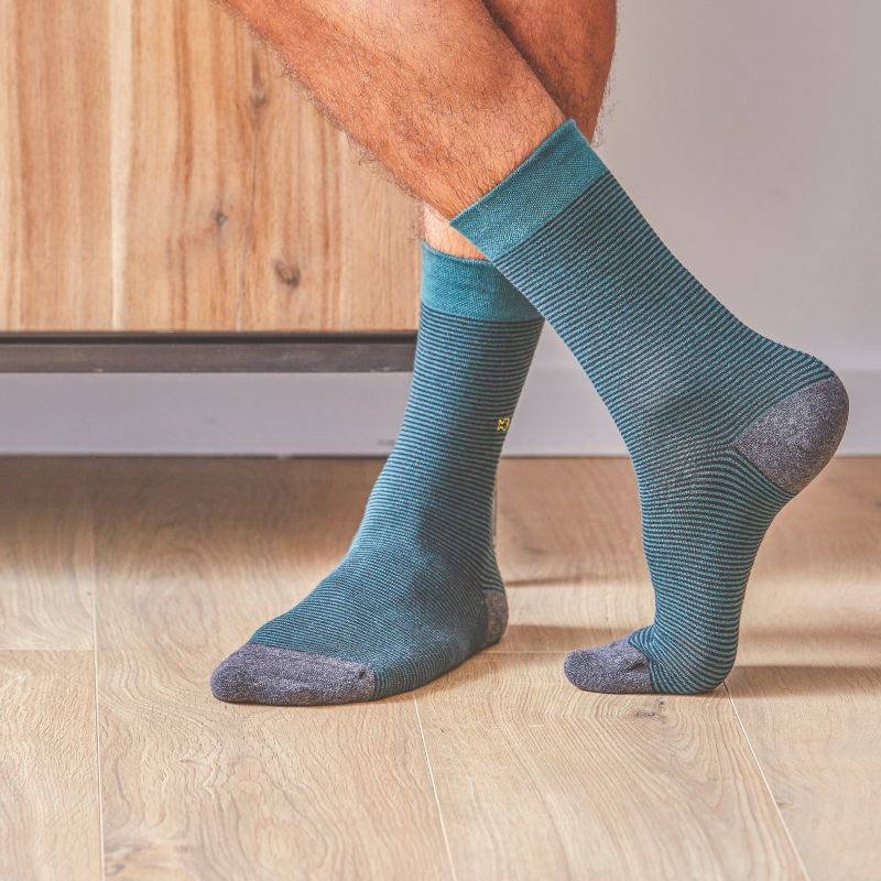 Cotton socks English Green Striped
