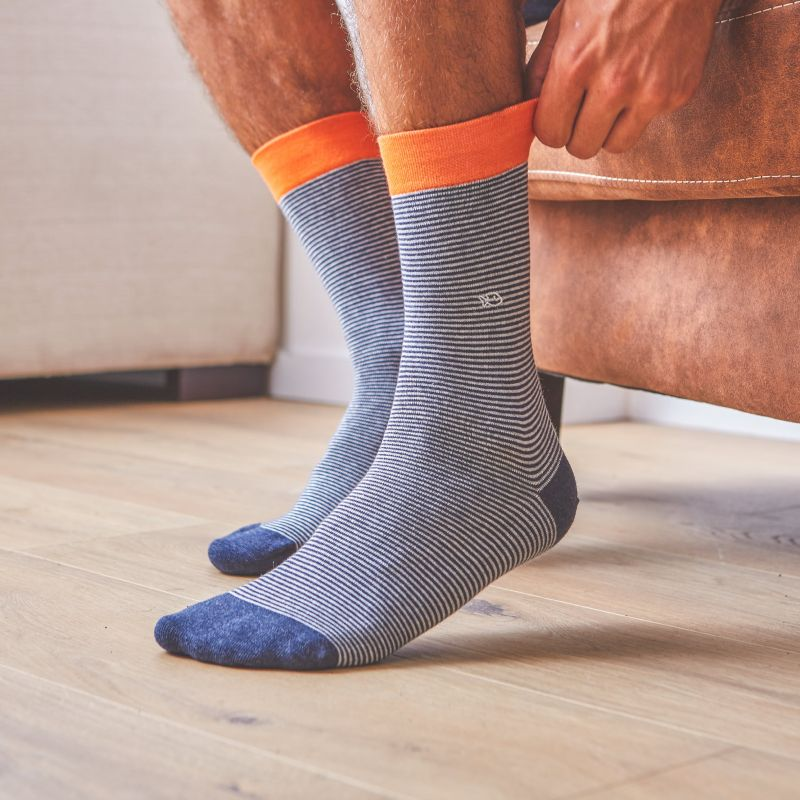 Cotton socks Mineral Blue Striped