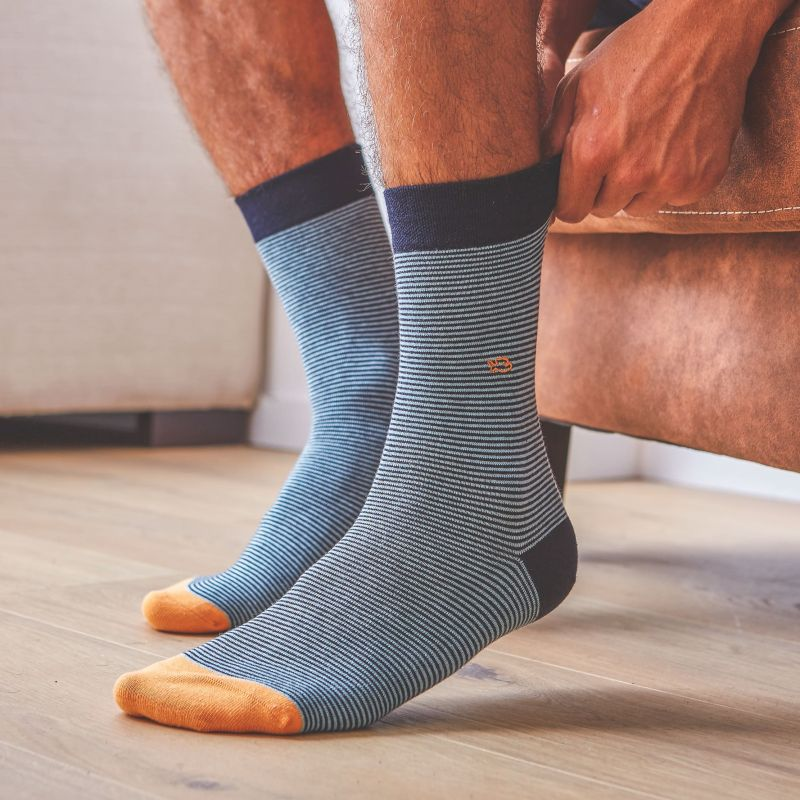 Chaussettes coton Rayée Bleu Fumée