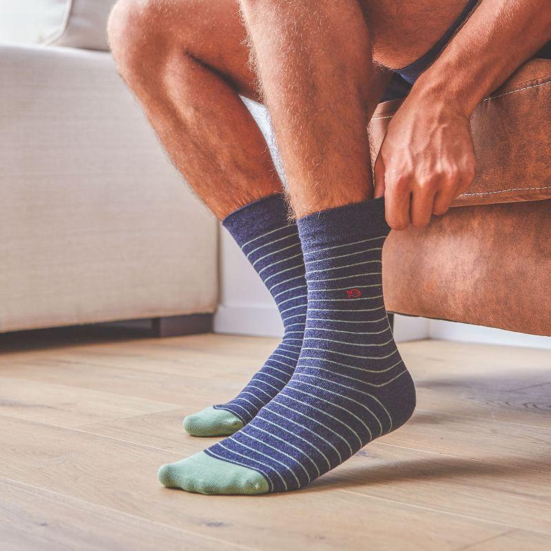 Cotton socks Fine Stripes Mottled Slate / Green