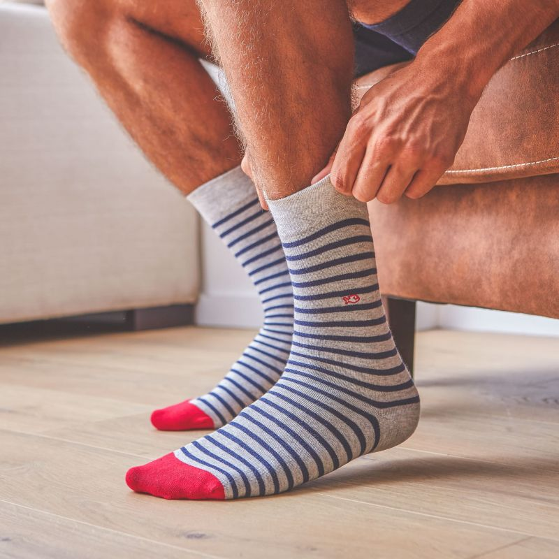Cotton socks Wide Stripes Light Grey / Blue