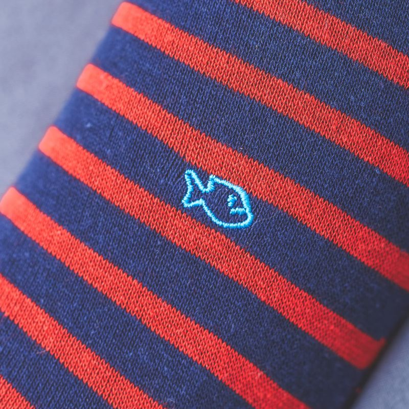 Cotton socks Wide Stripes Navy / Red