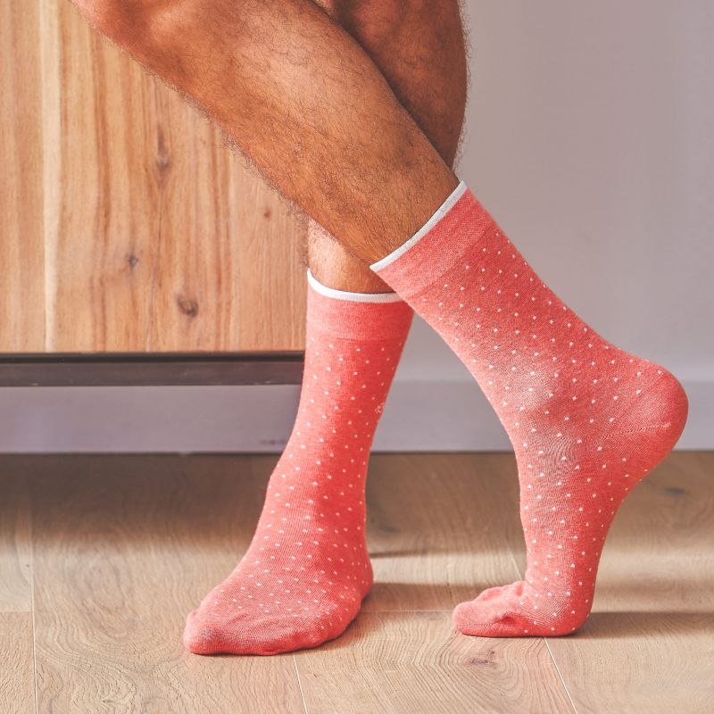 Cotton mottled coral square socks