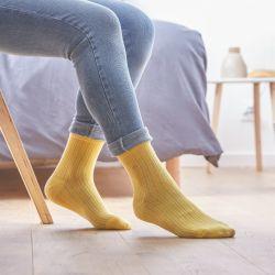Cotton socks Lace Yellow