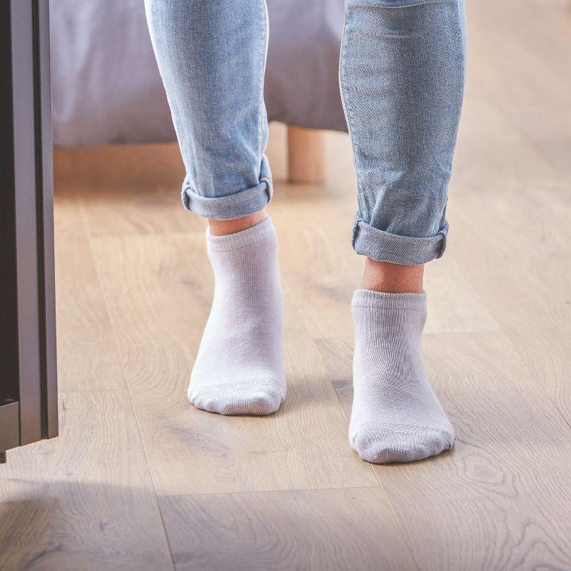Coton ankle socks Silver White