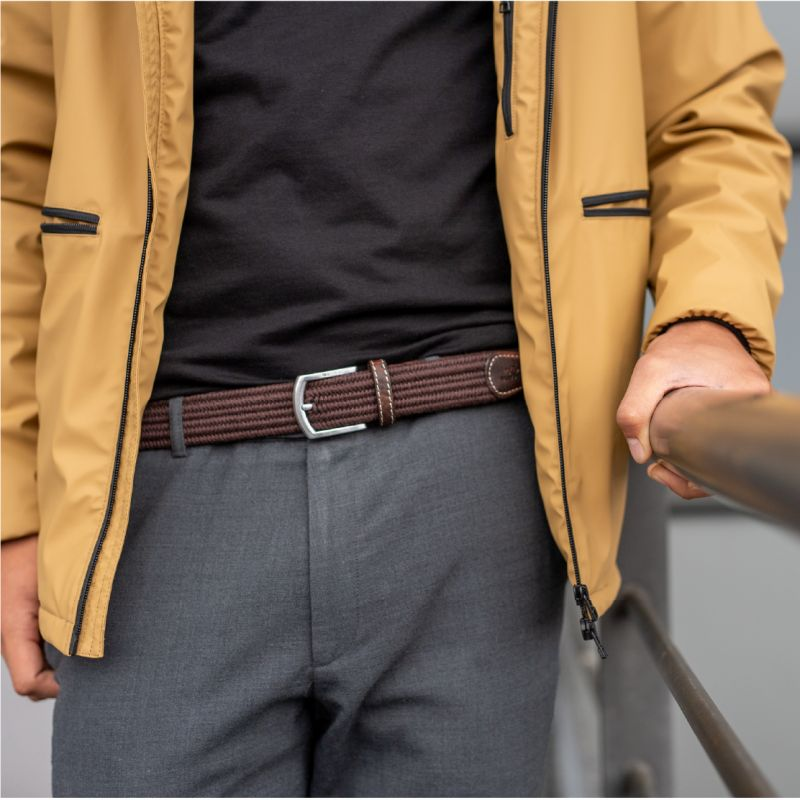 Elastic woven belt  The Club Chestnut Brown