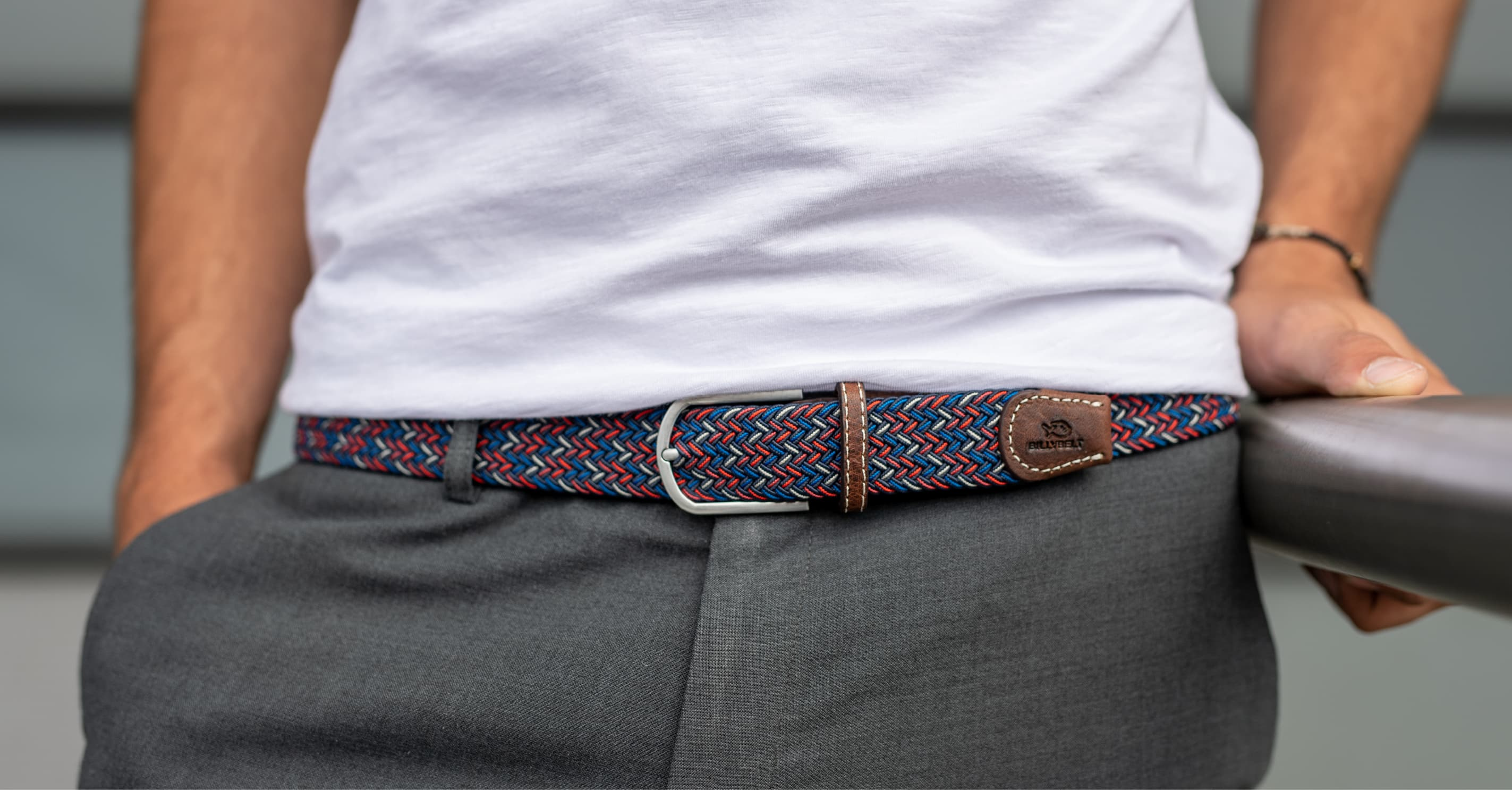 After the plain braided belts, BILLYBELT has decided to create a new collection inspired by their success: the multicoloured braided belts. More original and more colourful, these accessories are perfects for all men. Graphic, contemporary, this belts collection combines trendy and usual colours to give your style an atypical touch.  The multicoloured braided belt is comfortable to wear. It adapts to all morphologies thanks to their elasticity, and you can easily close it in the stretchy plait. All the multicoloured braided belts manufactured with real leather and with technical materials to be as more sophisticated than resistants.