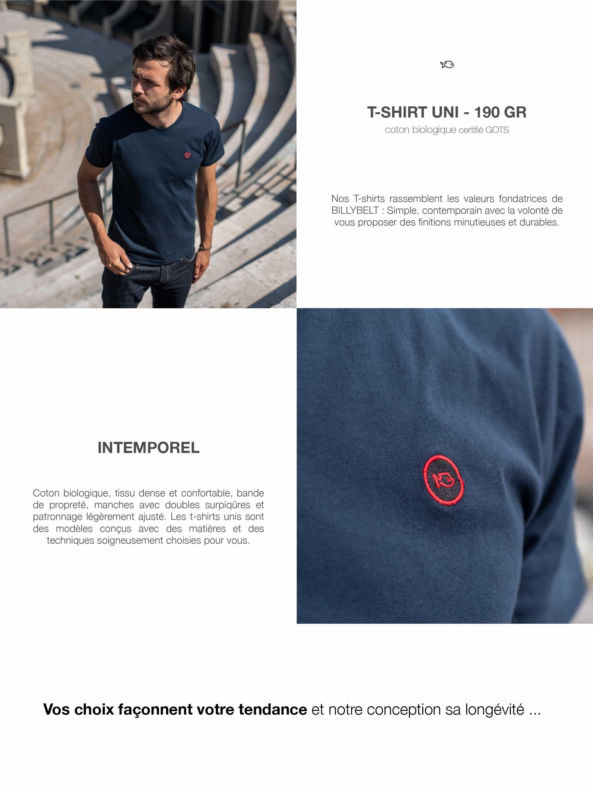 présentation du t-shirt uni